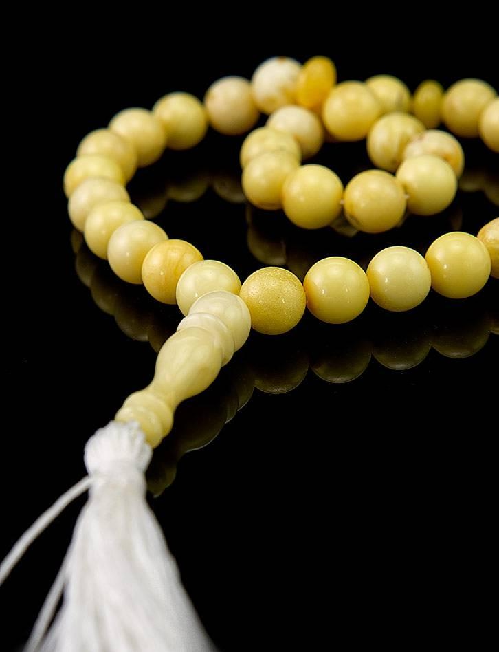 Islamic 33 Ball Cut Amber Prayer Beads, image , picture 2