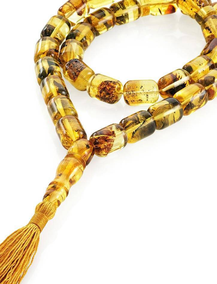 Lemon Amber With Inclusions Islamic Prayer Beads With Tassel, image