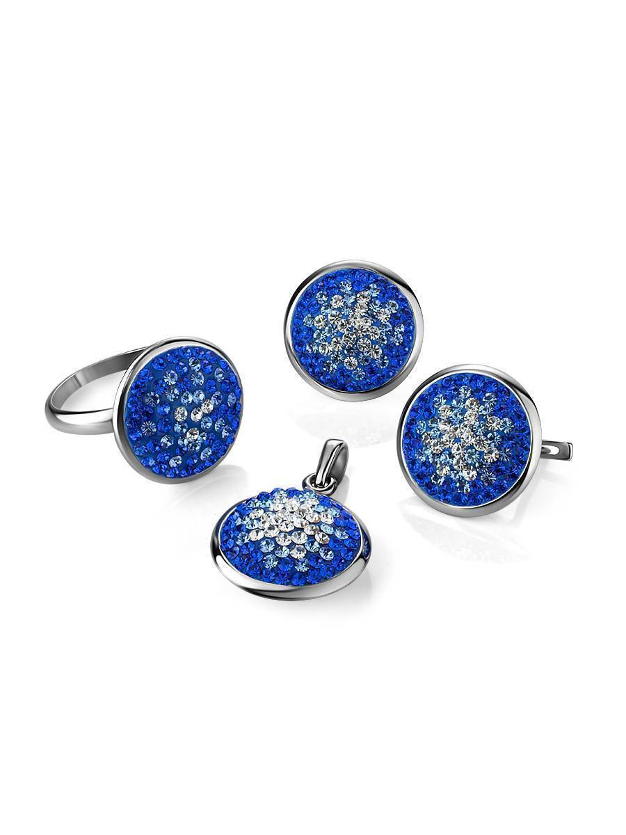 Round Silver Pendant With Blue Crystals The Eclat, image , picture 4