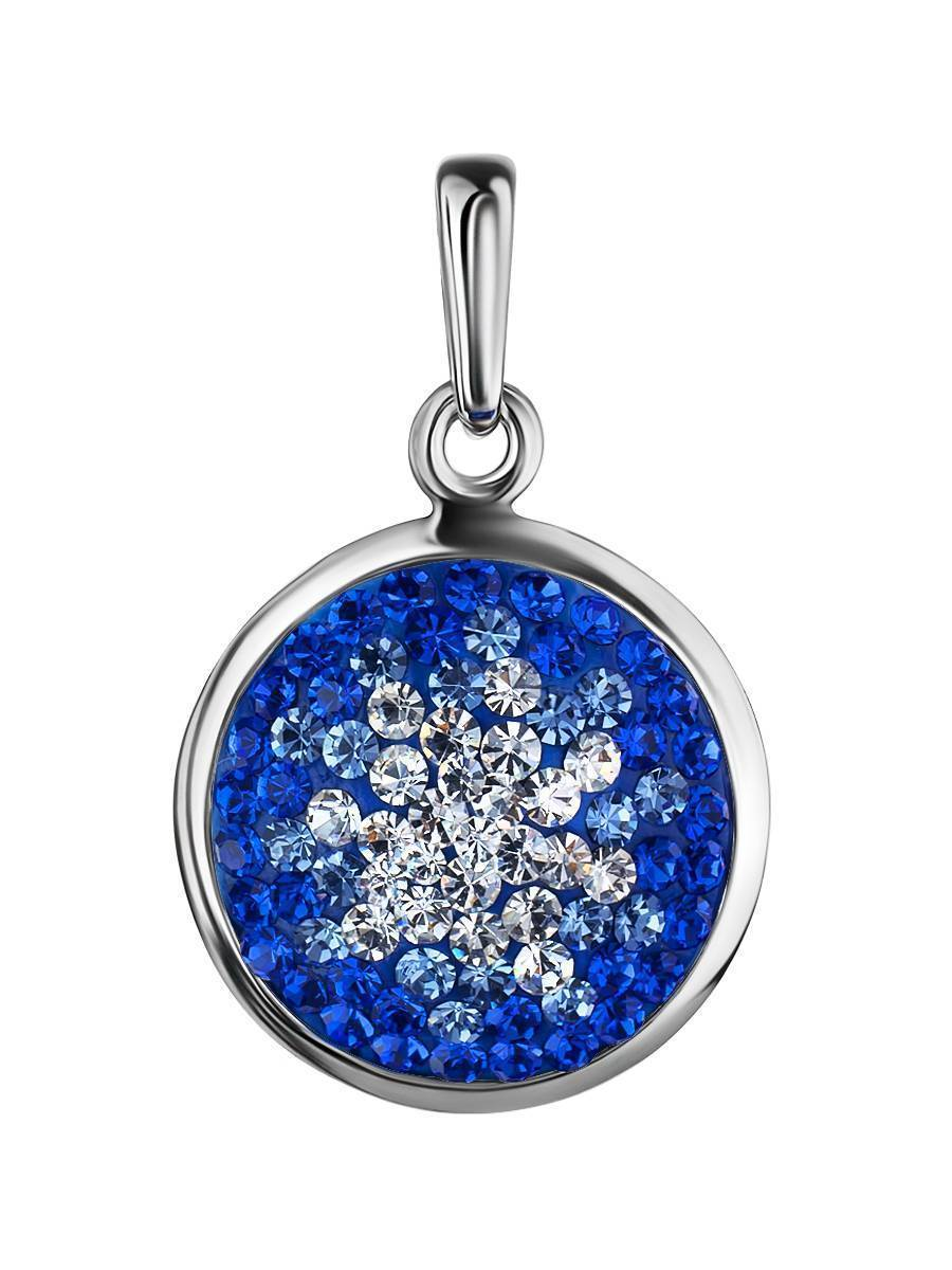 Round Silver Pendant With Blue Crystals The Eclat, image