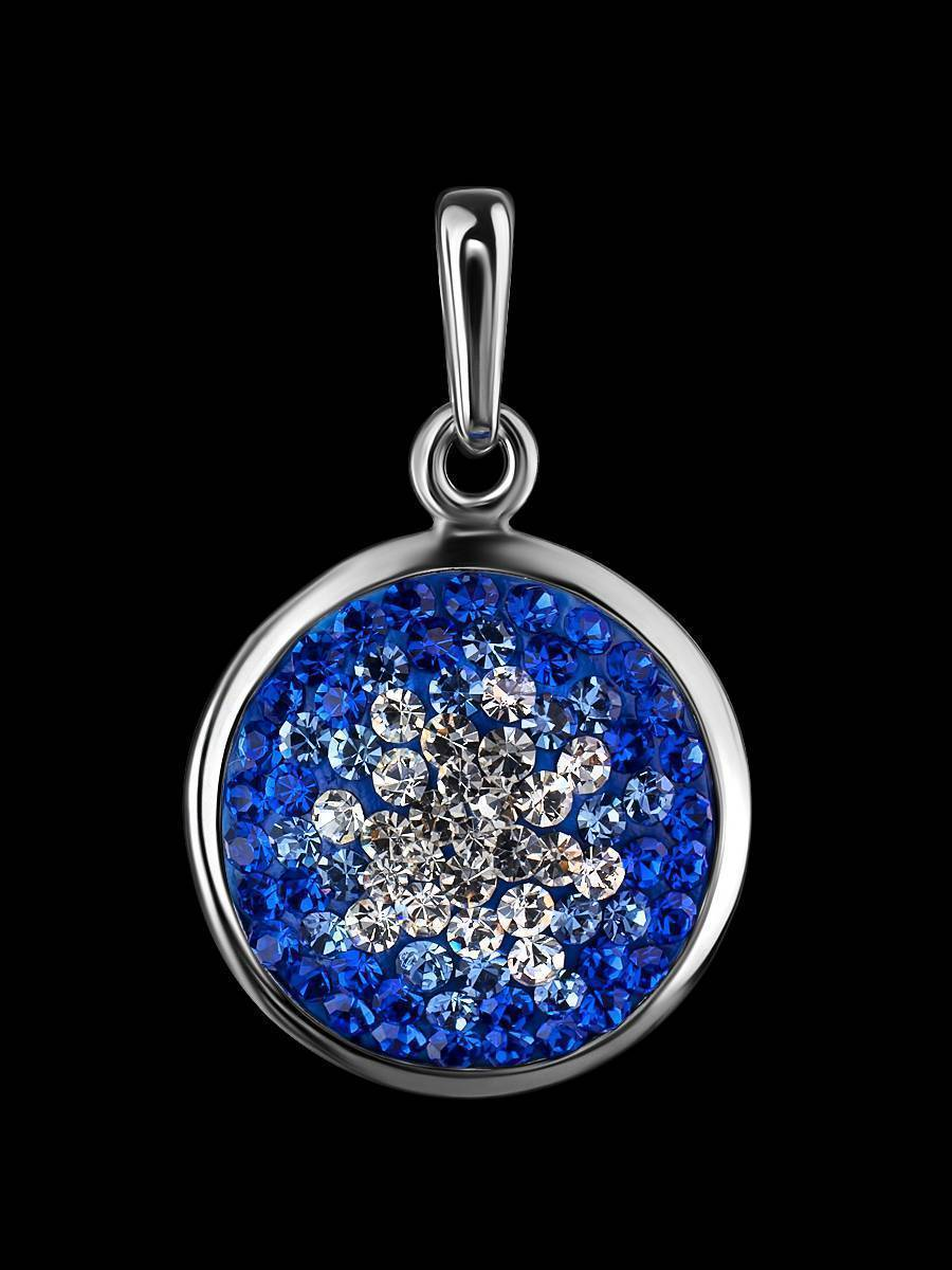 Round Silver Pendant With Blue Crystals The Eclat, image , picture 2
