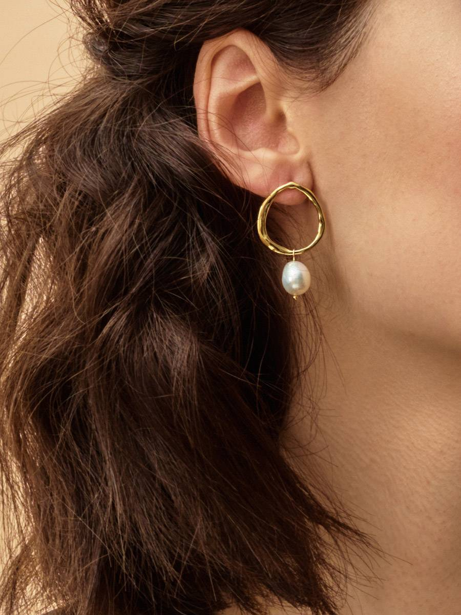 18ct Gold on Sterling Silver ​Circular Earrings with Pearl, image , picture 3
