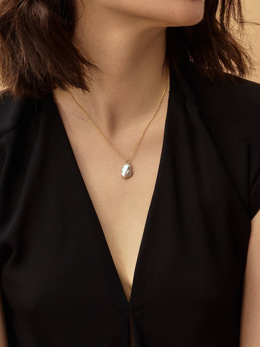 18ct Gold on Sterling Silver ​Pearl Pendant Necklace, image , picture 5