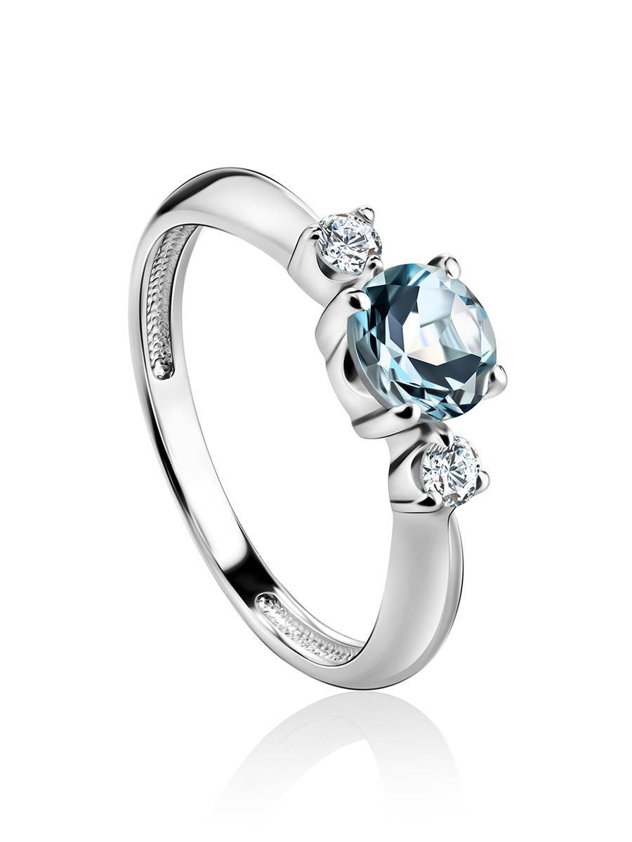 Silver Ring With Synthetic Topaz And White Crystals, Ring Size: 6 / 16.5, image