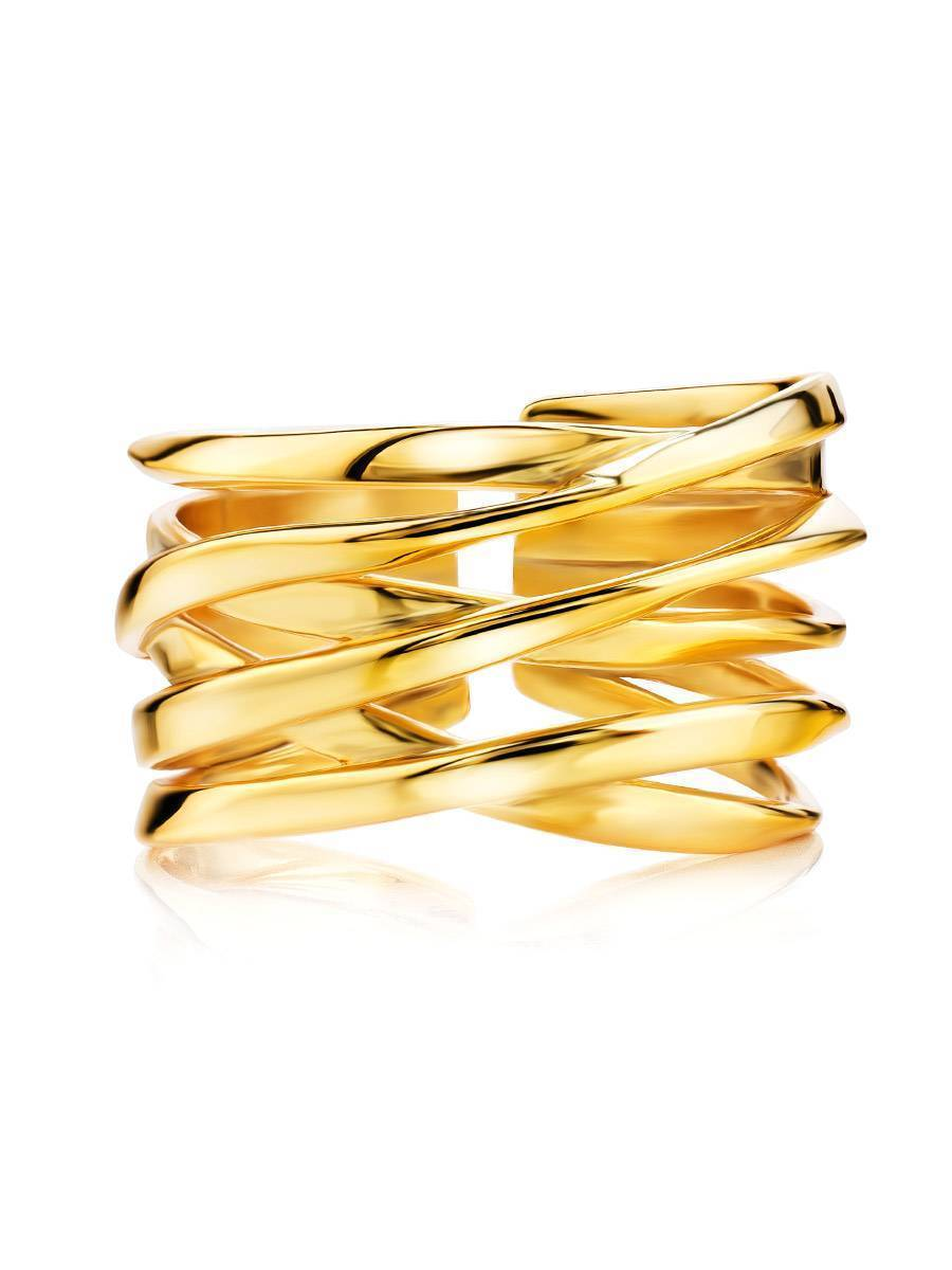 18ct Gold on Sterling Silver Twisted Statement Ring, image , picture 4