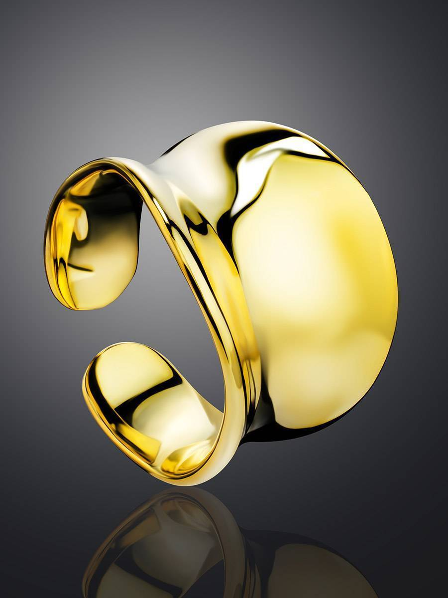 Chunky Gold Plated Silver Adjustable Ring The Ifamore, image , picture 2