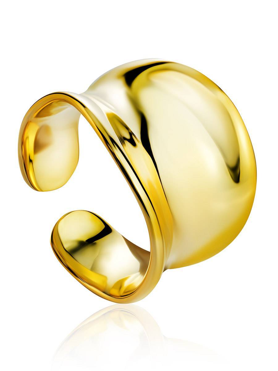 Chunky Gold Plated Silver Adjustable Ring The Ifamore, image
