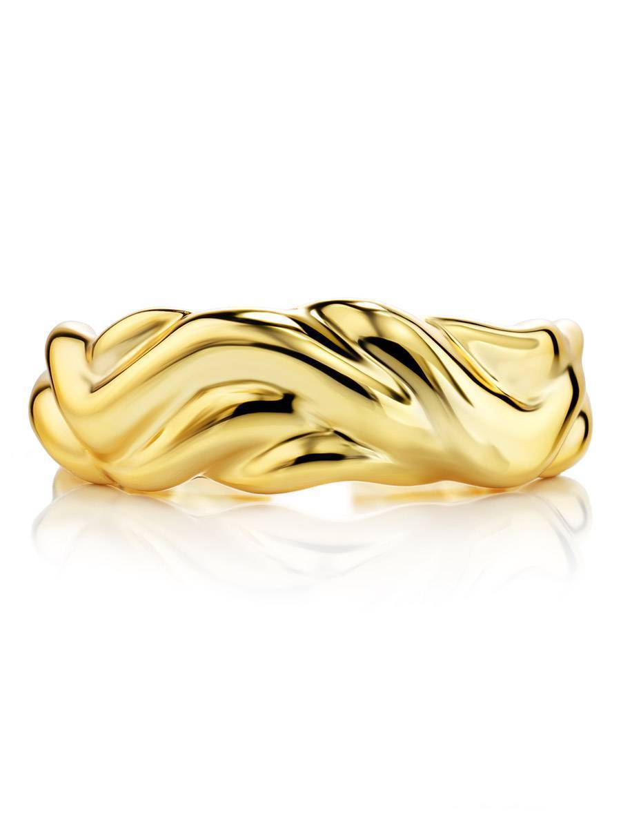 18ct Gold on Sterling Silver Abstract Molten Ring, image , picture 3