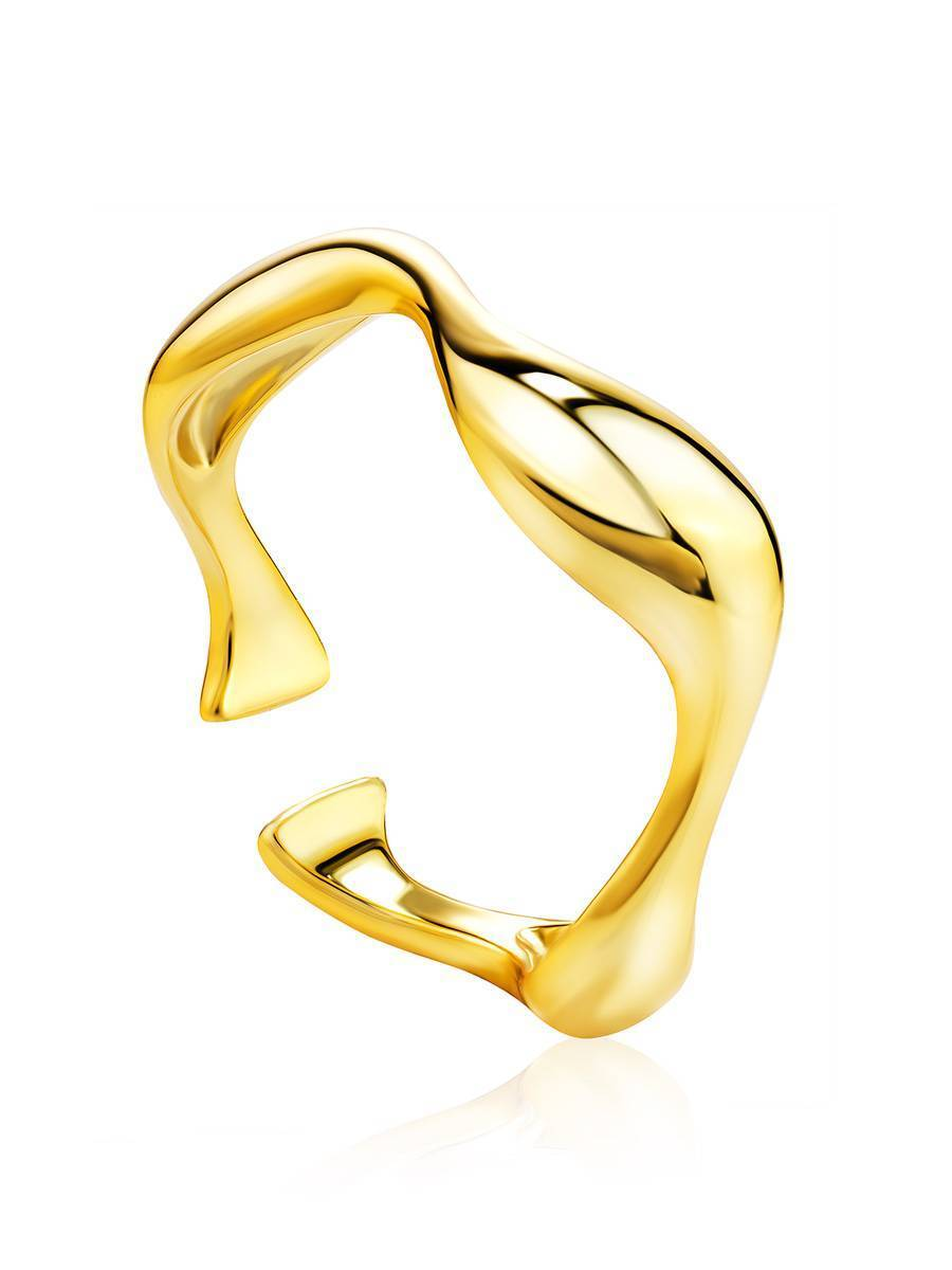 18ct Gold on Sterling Silver Wave Stacking Ring, image