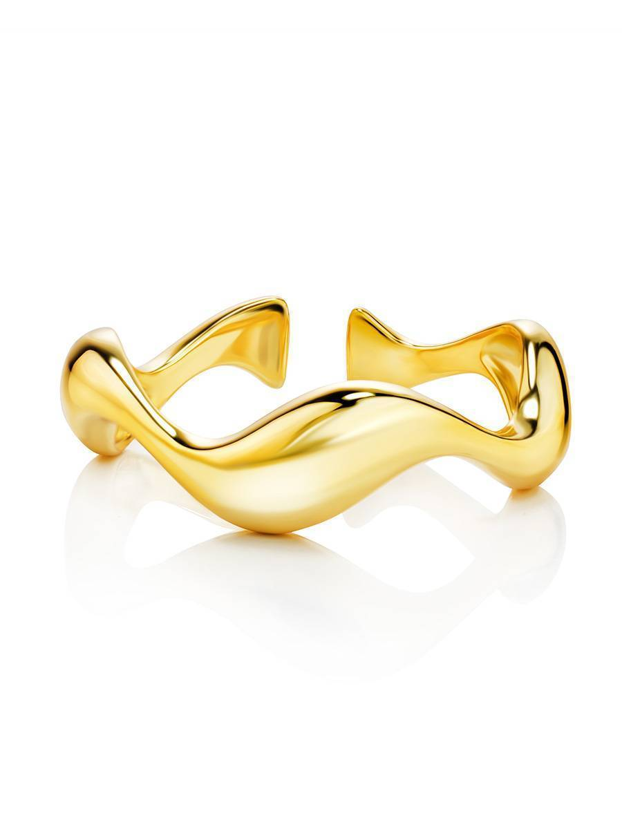 18ct Gold on Sterling Silver Wave Stacking Ring, image , picture 3