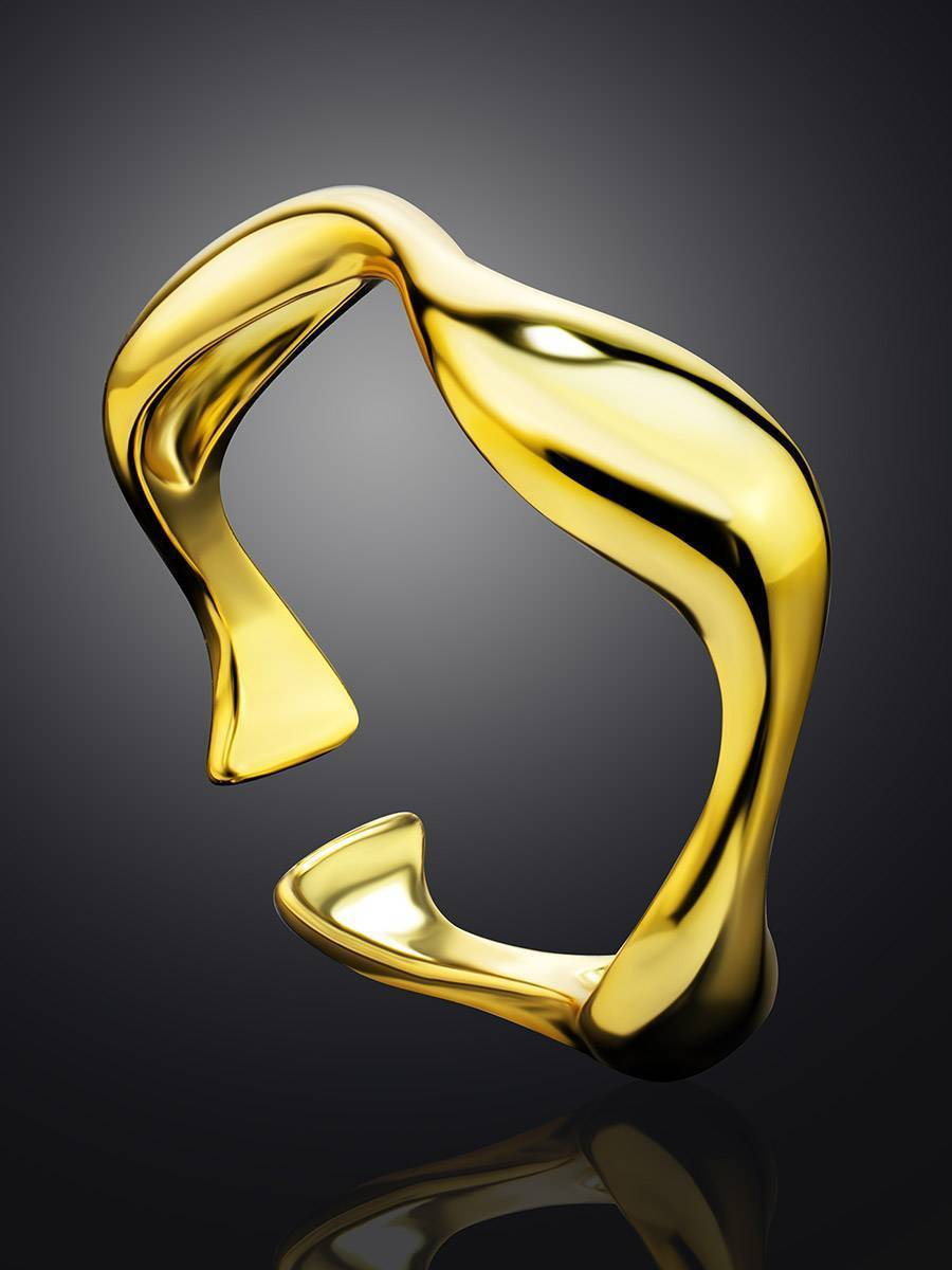 18ct Gold on Sterling Silver Wave Stacking Ring, image , picture 2