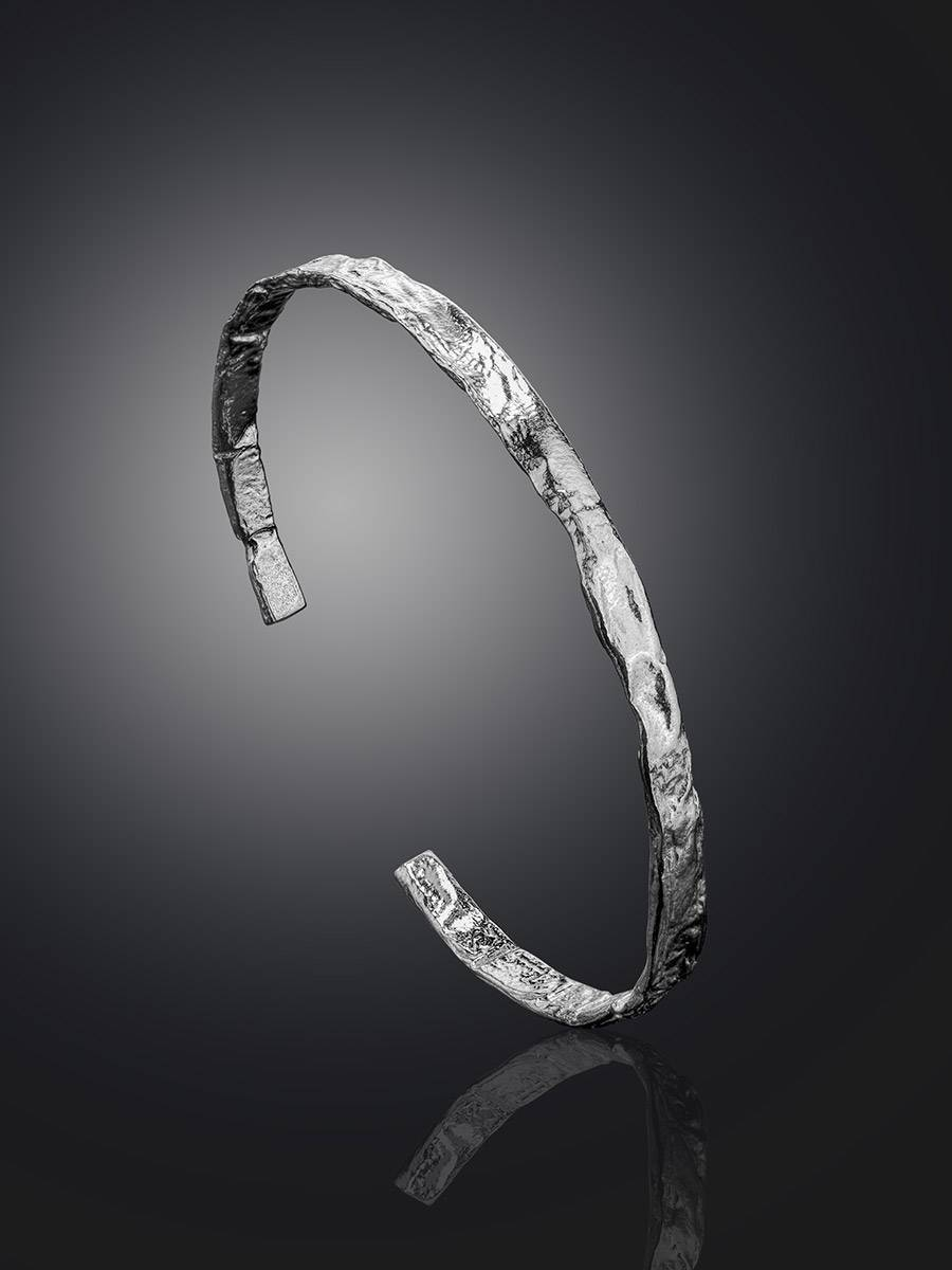Hammered Silver Bangle Bracelet The Ifamore, image , picture 2