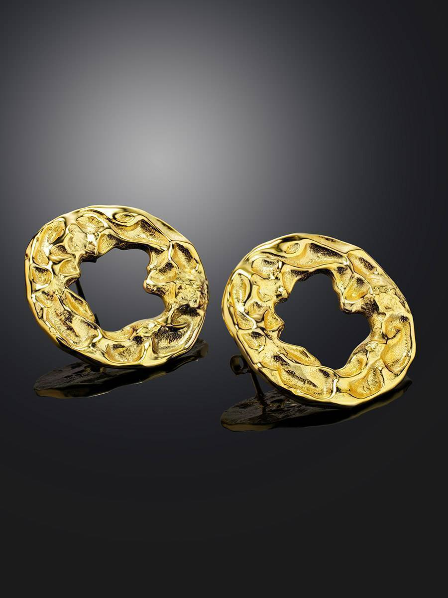 Textured Gold Plated Silver Round Earrings The Ifamore, image , picture 2