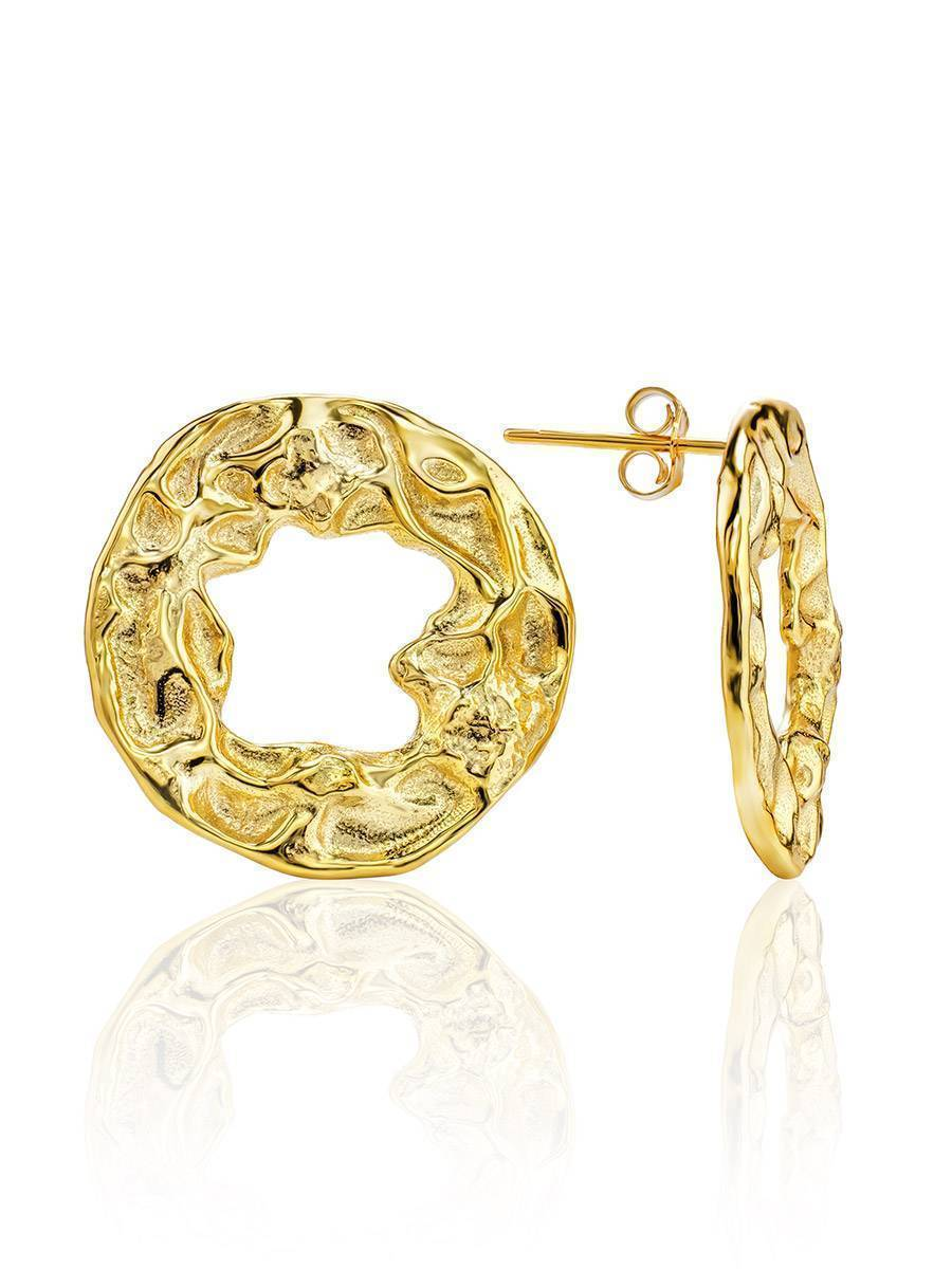 Textured Gold Plated Silver Round Earrings The Ifamore, image