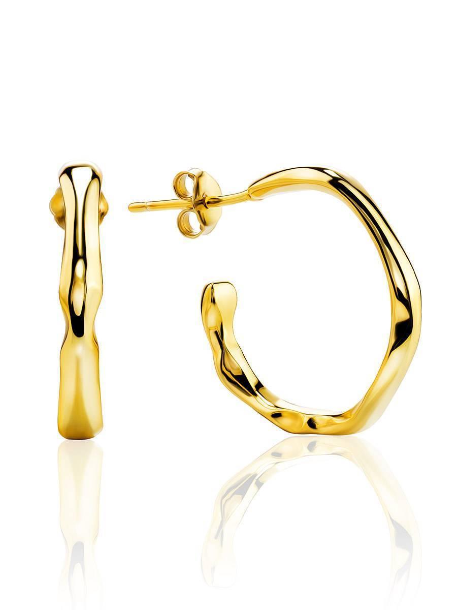 18ct Gold on Sterling Silver Hammered Hoop Earrings, image