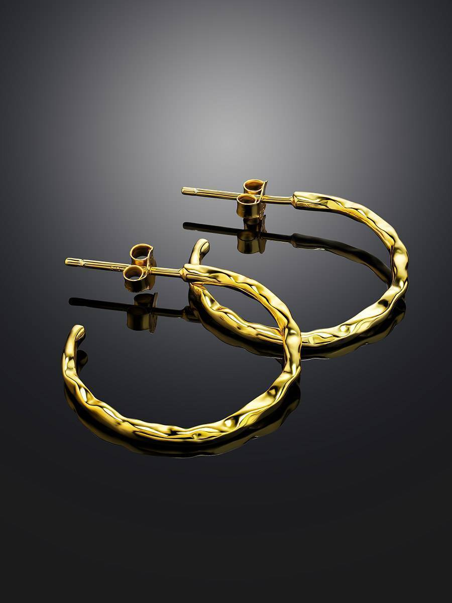 Delicate 18ct Gold on Sterling Silver Hammered Hoop Earrings, image , picture 2