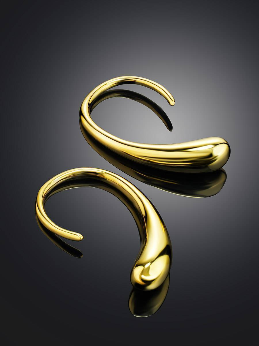 Statement 18ct Gold on Sterling Silver Drop Earrings, image , picture 2