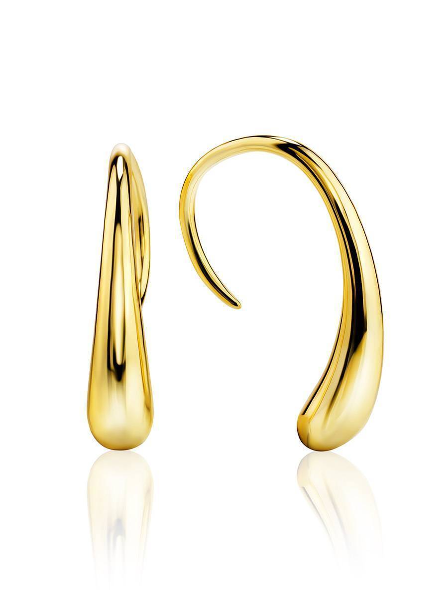 Statement 18ct Gold on Sterling Silver Drop Earrings, image