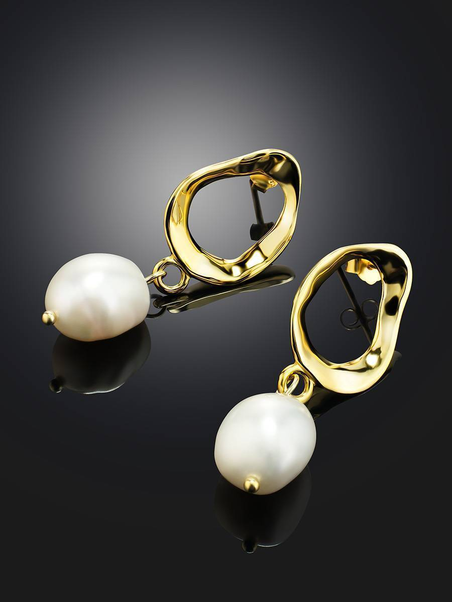 Pearl Drop Earrings in Hammered 18ct Gold on Sterling Silver , image , picture 2