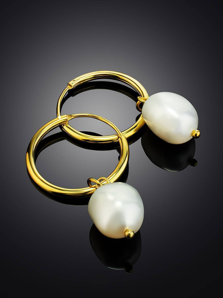 18ct Gold on Sterling Silver ​Hoop Earrings with Pearl Charm, image , picture 2