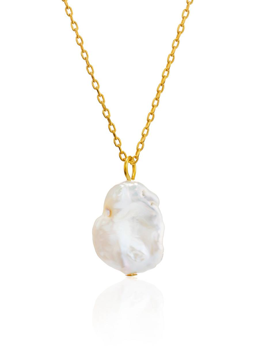 18ct Gold on Sterling Silver ​Pearl Pendant Necklace, image