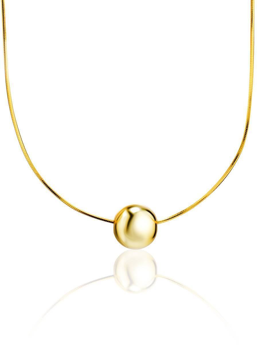 18ct Gold on Sterling Silver Orb Pendant Necklace, image