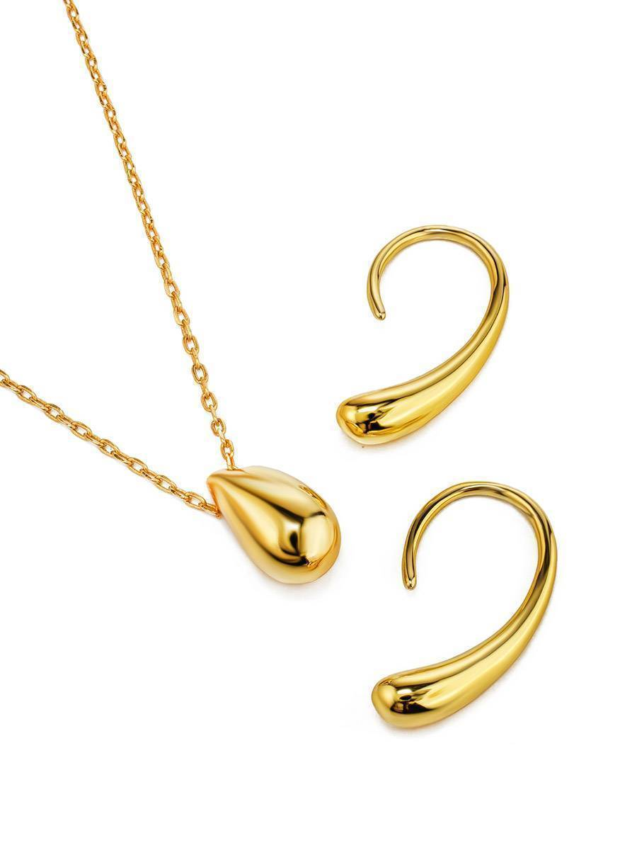 Solid 18ct Gold on Sterling Silver Teardrop Pendant Necklace, image , picture 3