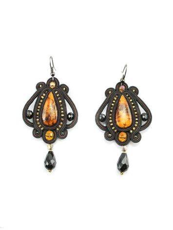 Ornate Textile Drop Earrings With Amber And Glass Beads The India, image