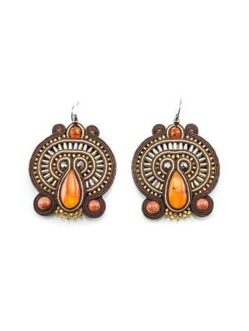 Braided Textile Earrings With Amber And Crystals The India, image