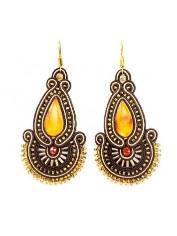Ornate Braided Drop Earrings With Amber And Crystals The India, image