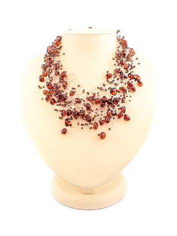 Cherry Amber Necklace With Glass Beads The Fable, image