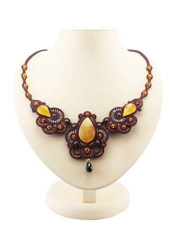 Glass Beads Braided Necklace With Amber And Crystals The India, image