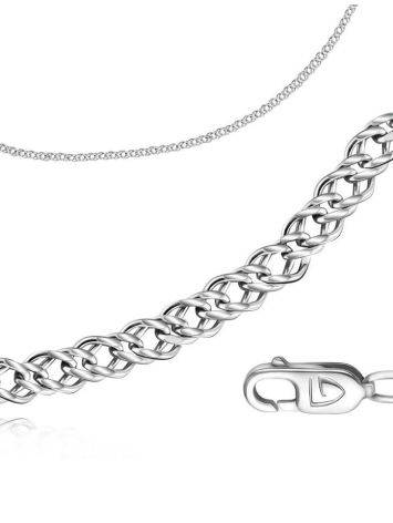 Double Rhomb Silver Chain, Length: 40, image