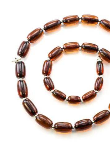 Cognac Amber Beaded Necklace With Bail, image