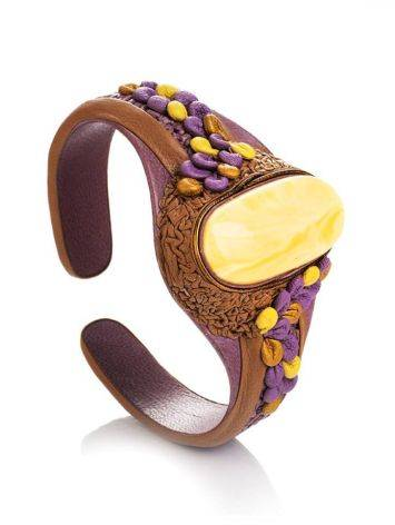 Brown Leather Cuff Bracelet With Honey Amber The Nefertiti, image