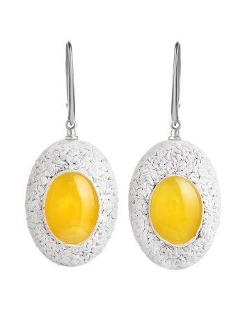 Amber Earrings In White Leather And Silver The Nefertiti, image