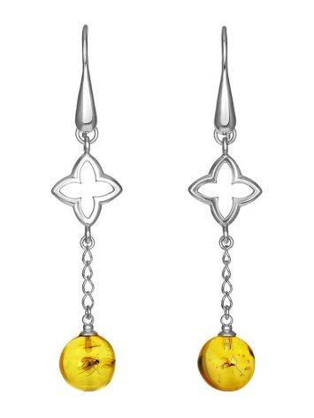 Dangle Amber Earrings In Sterling Silver With Inclusions The Clio, image