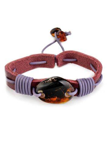 Leather Tie Bracelet With Cognac Amber The Copacabana, image