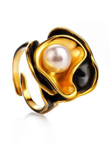 Bold Gold-Plated Ring With Cultured Pearl The Turandot, Ring Size: Adjustable, image
