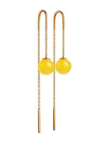 Amber Threader Earrings In Gold-Plated Silver The Jupiter, image