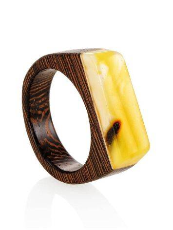 Handcrafted Wenge Wood Ring With Honey Amber The Indonesia, Ring Size: 10 / 20, image