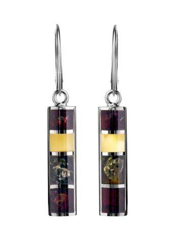 Drop Amber Earrings In Sterling Silver The London, image