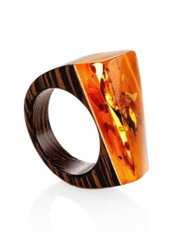 Boho Style Wenge Wood Ring With Bright Lemon Amber The Indonesia, Ring Size: 7 / 17.5, image
