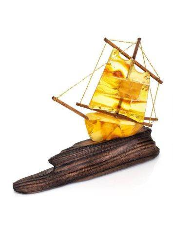 Handcrafted Amber Decorative Ship Model, image