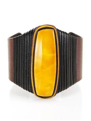 Dark Leather Cuff Bracelet With Honey Amber The Nefertiti, image , picture 3