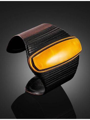 Dark Leather Cuff Bracelet With Honey Amber The Nefertiti, image , picture 2