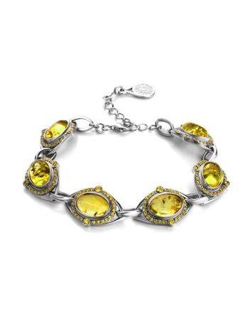 Link Amber Bracelet In Sterling Silver With Crystals The Raphael, image