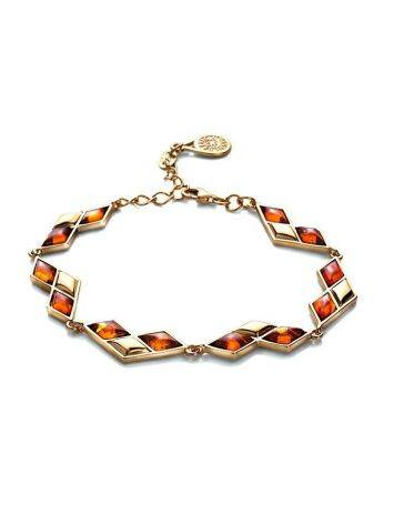 Gold Plated Link Bracelet With Cognac Amber The Colombina, image