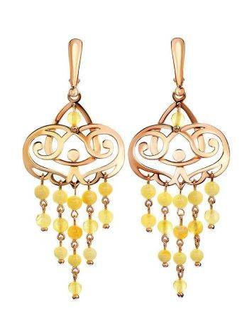 Honey Amber Chandelier Earrings In Gold-Plated Silver The Siesta, image