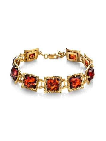 Link Amber Bracelet In Gold Plated Silver The Hermitage, image